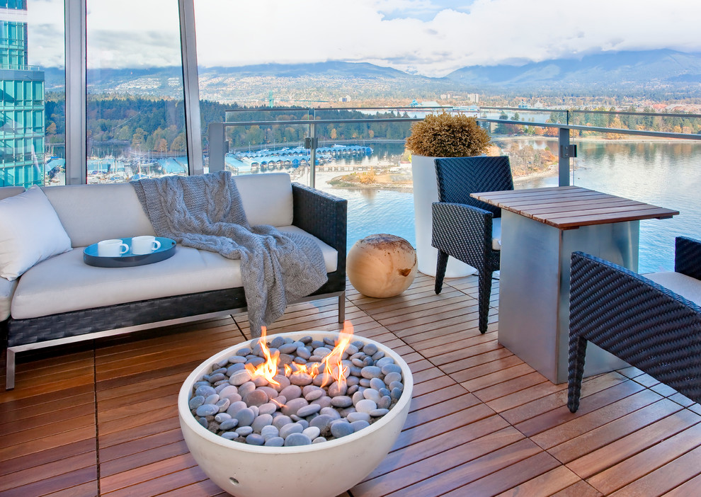 Firepits Porch Contemporary with Accent Table Balcony Fire Bowl Flames Glass Panel Railing Outdoor Entertaining Potted