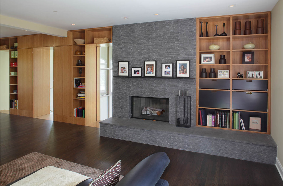 Fireplace Mantels Family Room Modern with Bookcase Bookshelves Built in Ceiling Lighting Dark Floor Fireplace Accessories Fireplace Hearth