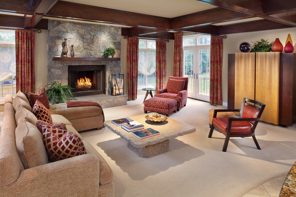Fireplace Mantle Family Room Contemporary with Arm Chair Armoire Carepting Coffered Ceiling Curtain Panels Dark Stained Wood Fireplace