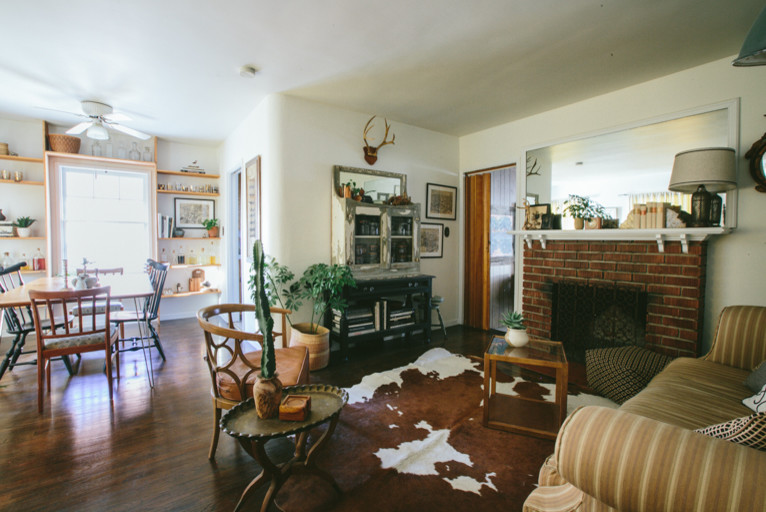 Fireplace Mantle Living Room Midcentury with Antique Bookcases Built in Bookshelves Built in Shelves Cowhide Rug Dining Room