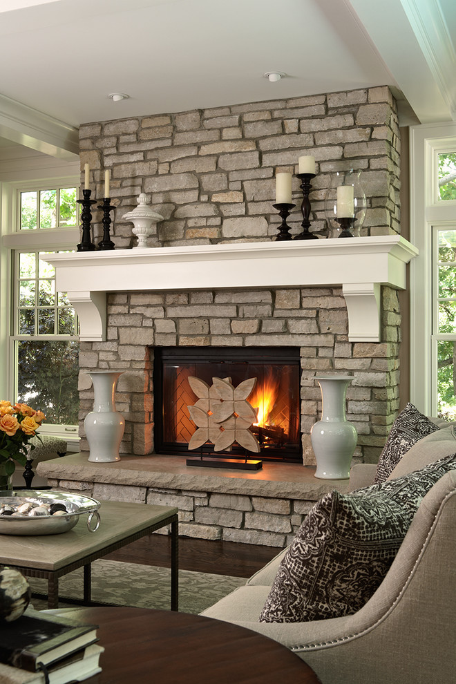 Fireplace Mantle Living Room Traditional with Candles Coffee Table Coffered Ceiling Corbels Dark Stained Wood Fire Screen Nail