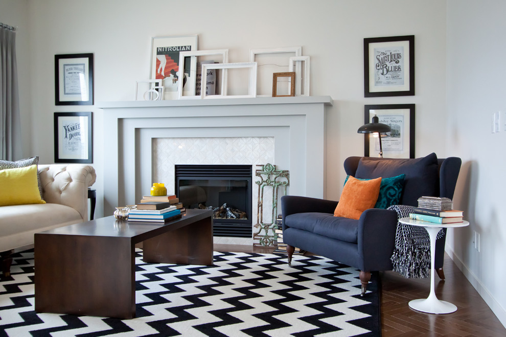 Fireplace Mantle Living Room Transitional with Black and White Rug Chesterfield Sofa Chevron Rug Eclectic Mix Empty Frames