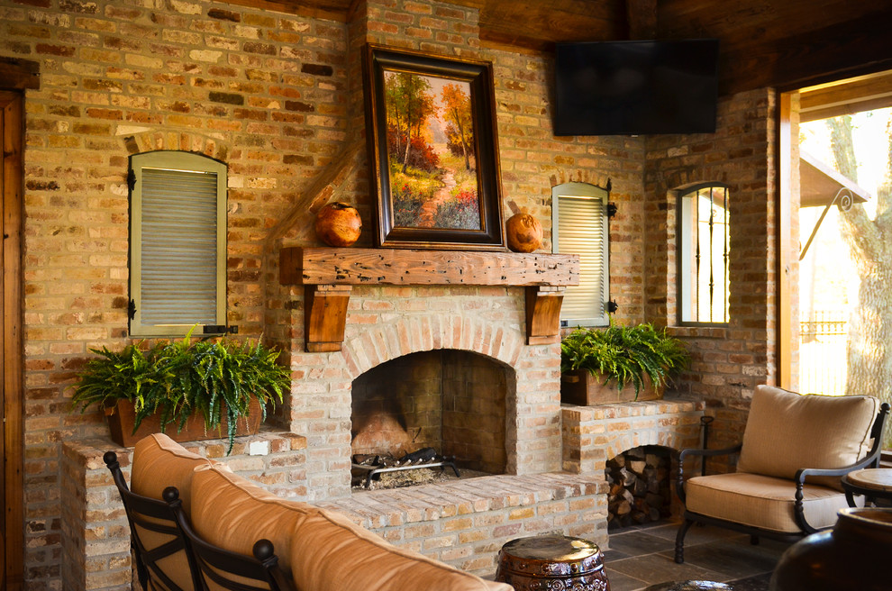 Fireplace Mantle Patio Rustic with Backsplash Brick Fireplace Fireplace Fireplace Mantel Hood Island Mantle Outdoor Cushions Outdoor