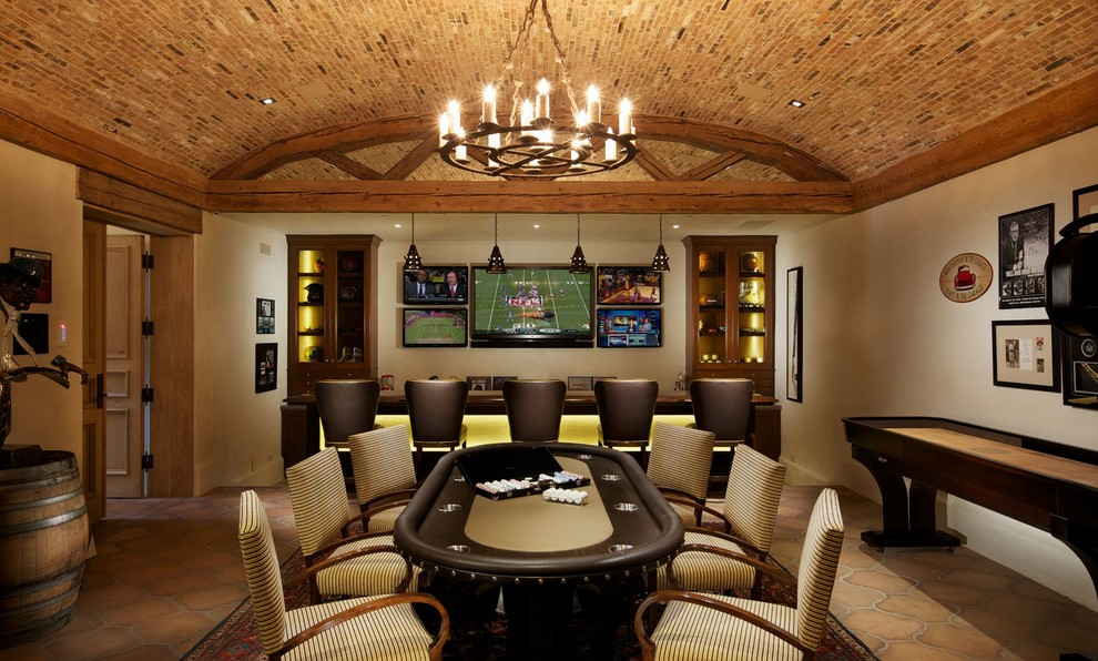 Fireplace Poker Set Home Theater Mediterranean with Arched Ceiling Bar Beige Chair Beige Wall Brick Ceiling Brown Counter Stool