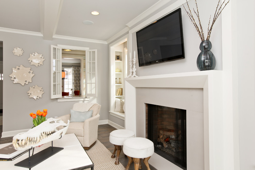 Fireplace Surround Living Room Contemporary with Flat Screen Tv Grey Living Room Mounted Tv in Living Room White