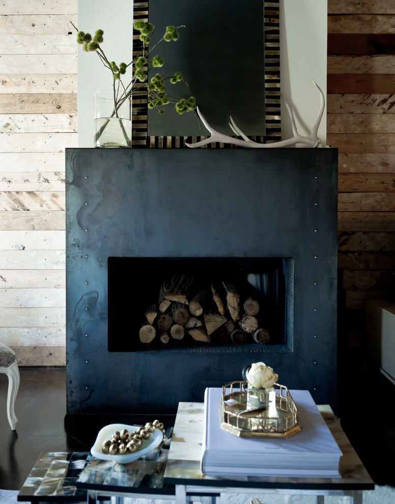 Fireplace Surround Living Room Eclectic with Antlers Black and White Dark Floor Fireplace Mantel Fireplace Surround Firewood Storage