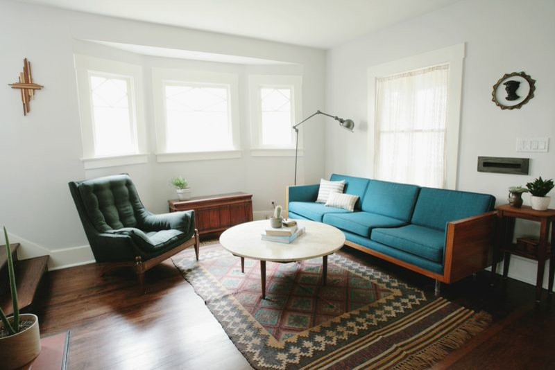 Fireplace Surround Living Room Midcentury with Antique Furniture Bright Colors Craftsman Style House Marble Coffee Table Midcentury Midcentury Furniture