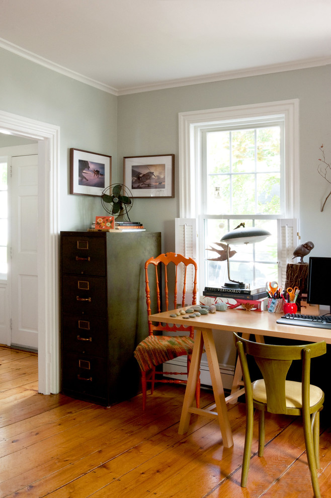 fireproof file cabinet Home Office Eclectic with bird blanket desk Eclectic file cabinet filing cabinet orange chair sawhorse table