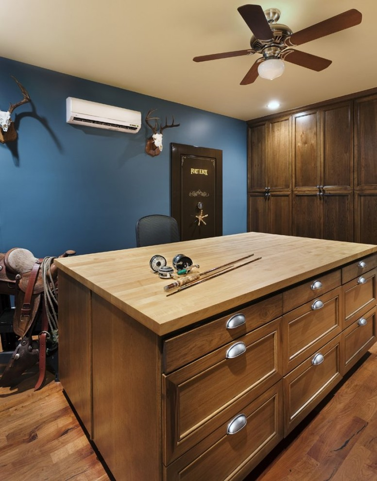 Fireproof Safe Home Office Traditional with Animal Skulls Antlers Blue Walls Built in Storage Butcher Block Countertops Ceiling