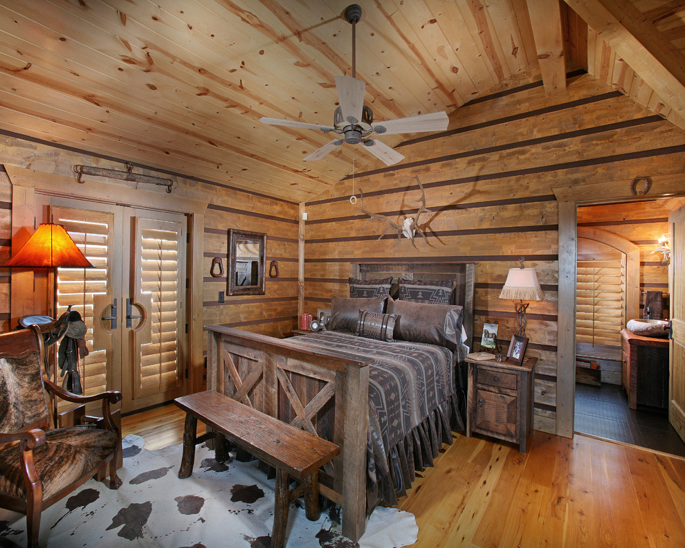 fireside lodge furniture Bedroom Rustic with antlers cabin ceiling fan lodge rustic sloped ceiling vaulted ceiling Window Treatments