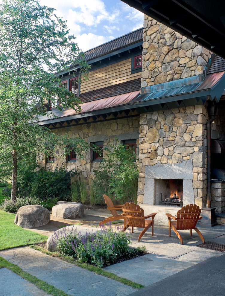 Fireside Lodge Furniture Landscape Contemporary with Adirondack Adirondack Chairs Boulders Contemporary Exterior Fireplace Geometric Lanscape Mass Planting Modern