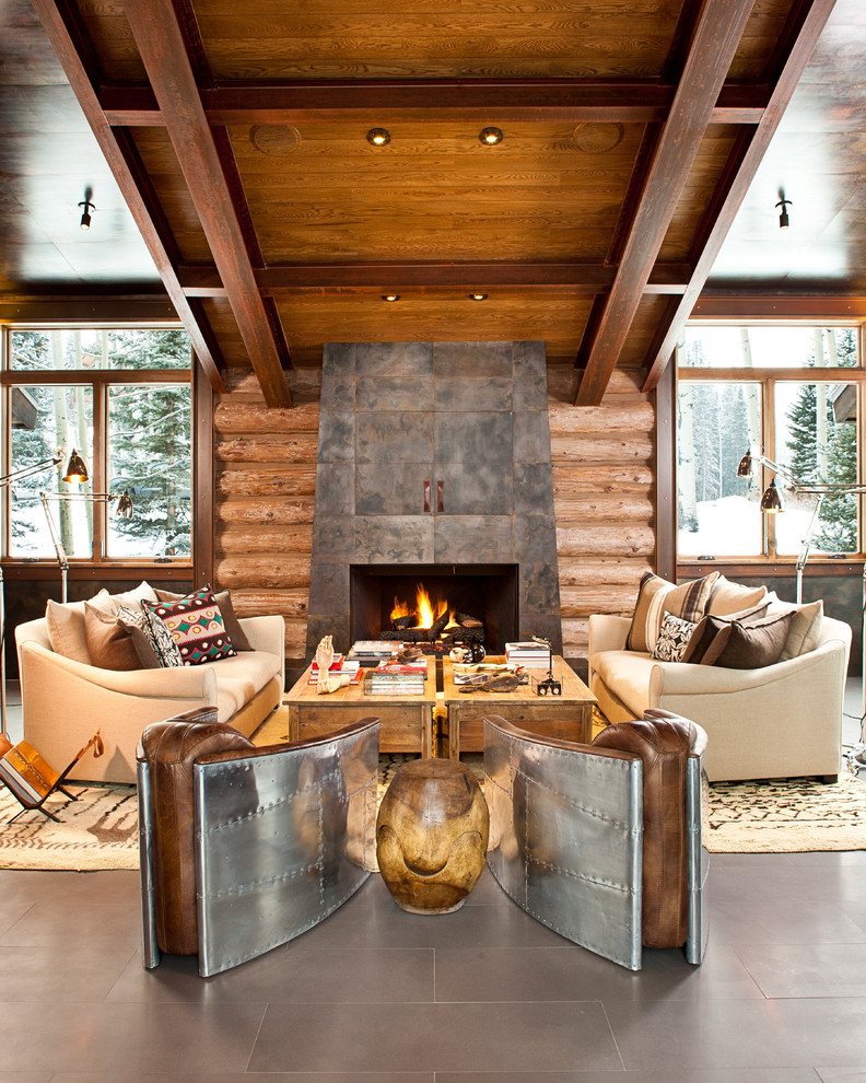 Fireside Lodge Furniture Living Room Contemporary with Forest Hidden Tv Large Windows Leather Magazine Stand Log Cabin Modern Fireplace