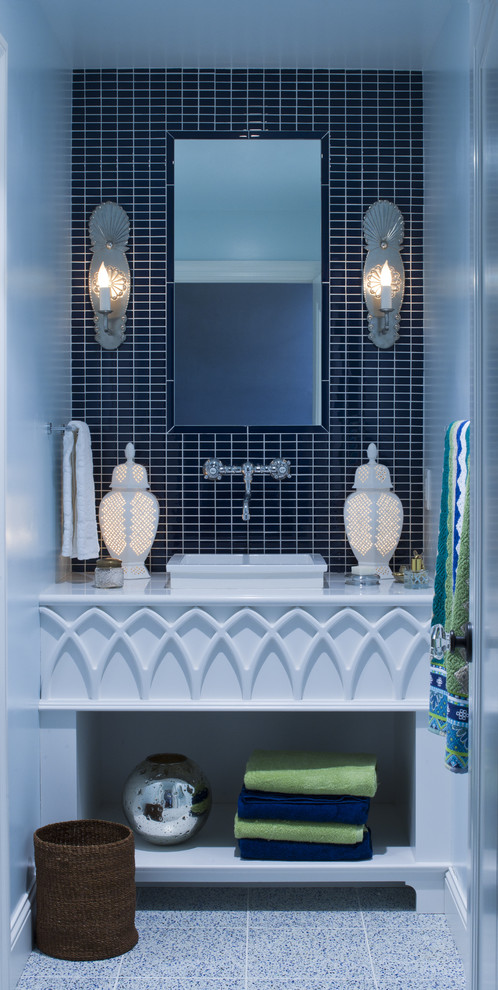 Flameless Taper Candles Bathroom Eclectic with Aquatic Asid Bathroom Blue Ceramic Vanity Front Chrome Clean Dark Design Detailed