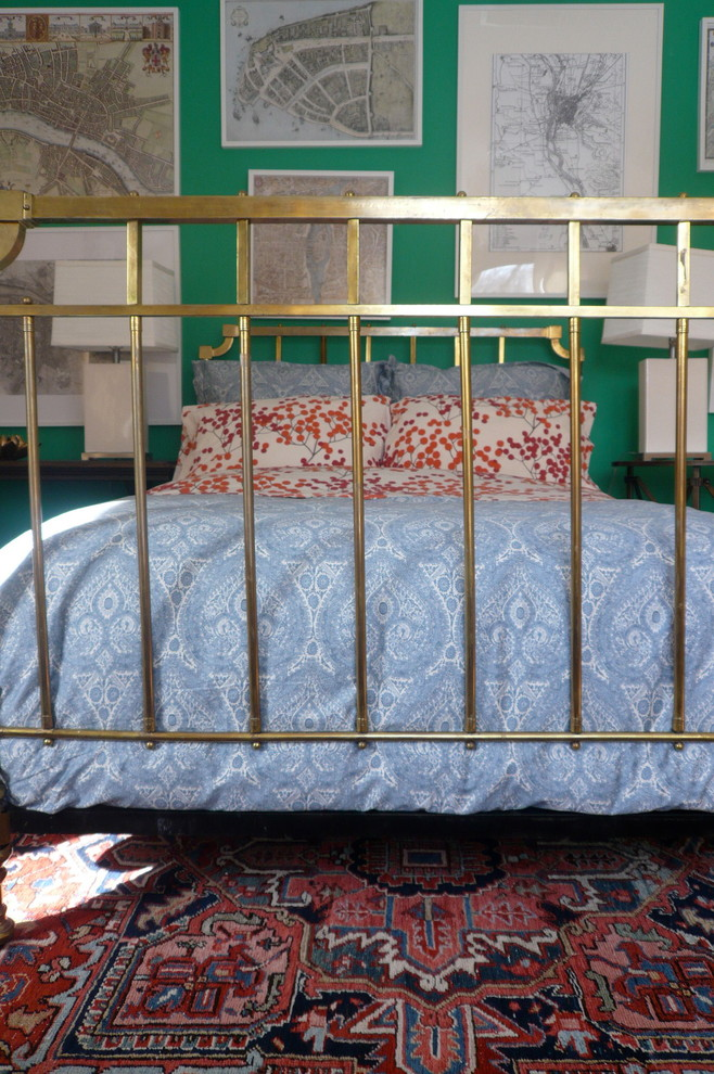 flannel bedding Bedroom Eclectic with antique maps antique rug Bedding Garnet Hill flannel brass beds Briarcliff Manor