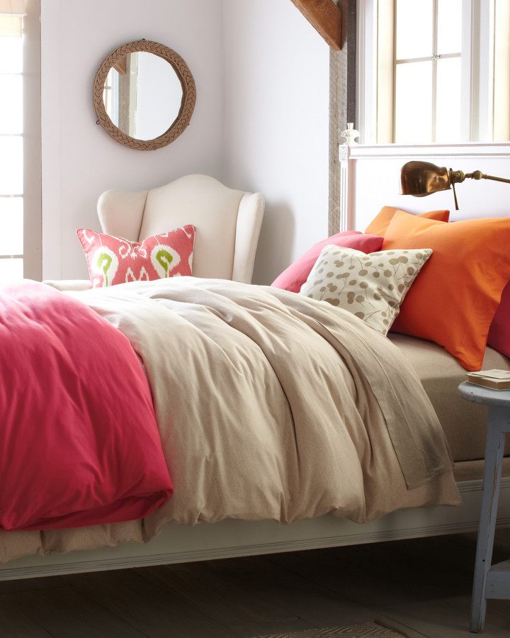 Flannel Bedding Bedroom Traditional with Decorative Pillow Exposed Beams French Doors Neutral Bedding Rope Mirror Spice Bedding