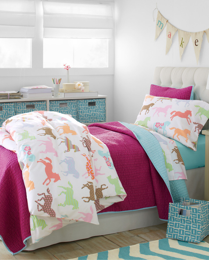Flannel Bedding Bedroom Transitional with Chevron Rug Girls Bedding Girls Bedroom Girls Room Horse Bedding for Girls