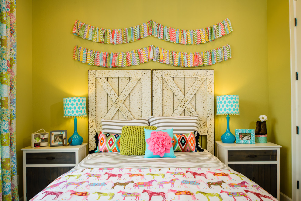 Flannel Bedding Kids Contemporary with Blue Table Lamp Bright Colors Chartreuse Walls Garland Horse Bedding Wood Door
