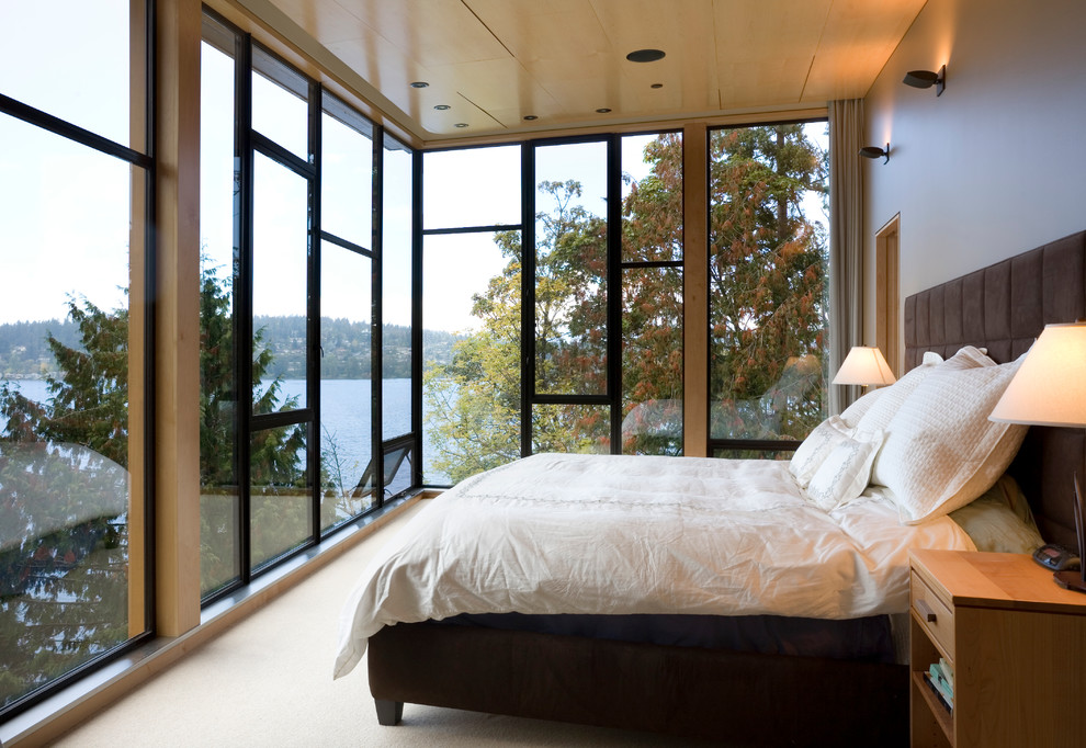 Flannel Sheets King Bedroom Contemporary with Awning Window at Floor Bedroom with a View Floor to Ceiling Windows