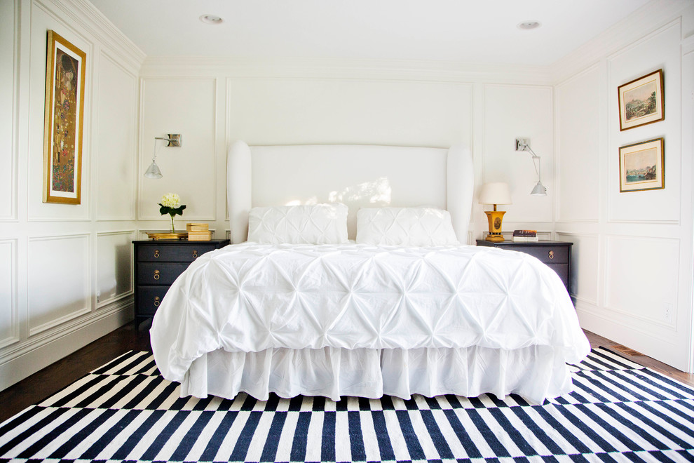 Flannel Sheets Queen Bedroom Transitional with Art Black Nightstands Black Side Tables Brass Hardware Gold Frames Graphic Rug