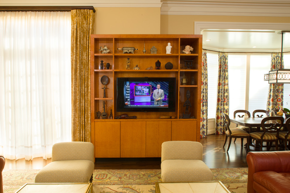 flat panel tv stands Living Room with dark wood dining table eating space flat panel tv stand hardwood floors