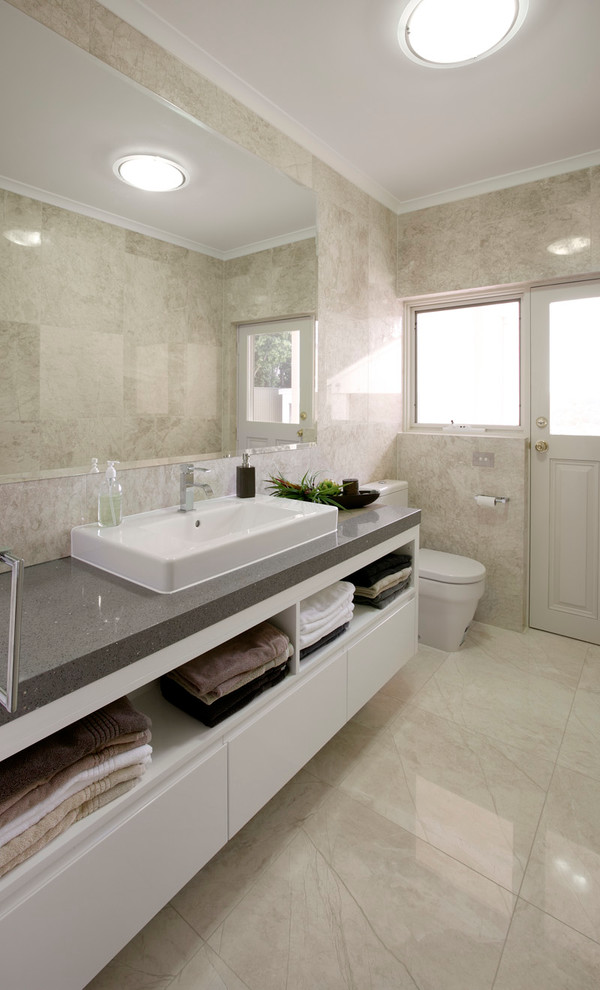 Floating Bathroom Vanity Bathroom Contemporary with Beige Door Beige Floor Beige Stone Floor Beige Wall Floating Bathroom Vanity