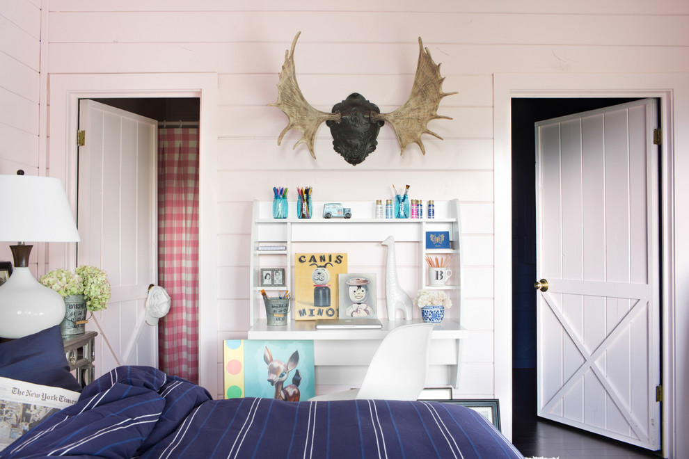 Floating Desk with Storage Bedroom Eclectic with Bedroom Brian Patrick Flynn Eclectic Bedroom Guest Bedroom Masculine Mountain Home