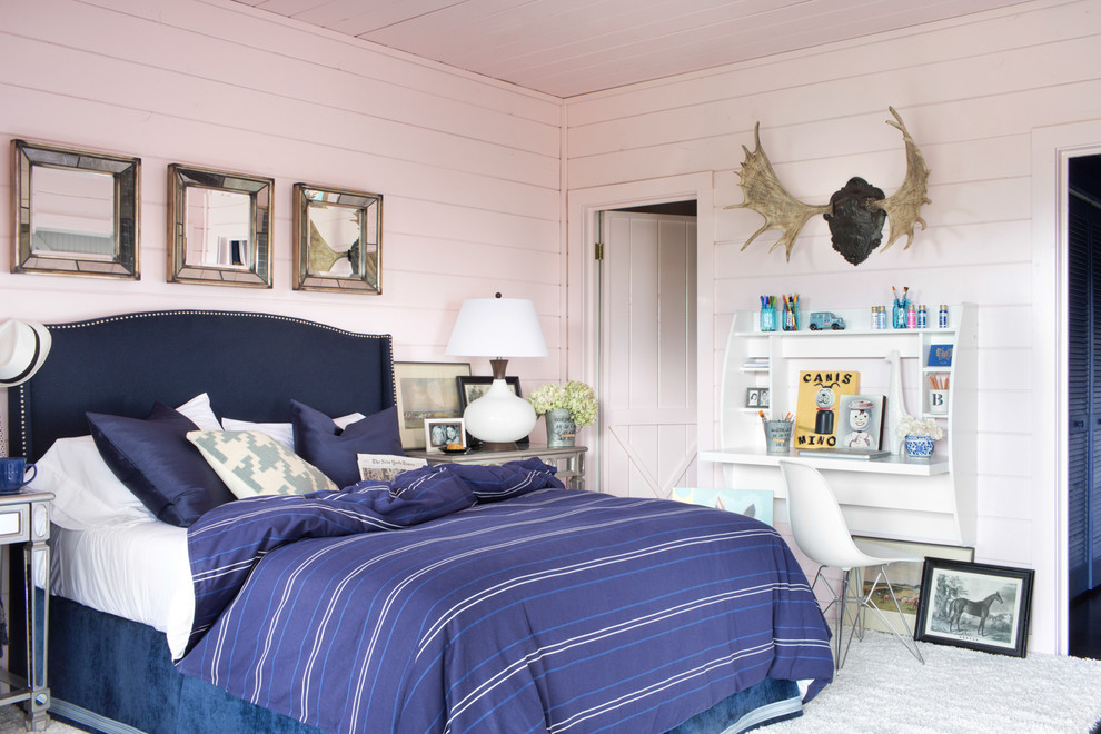 Floating Desk with Storage Bedroom Eclectic with Bedroom Brian Patrick Flynn Eclectic Bedroom Guest Bedroom Masculine Mountain Home 2