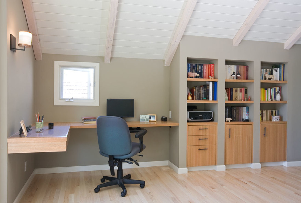 Floating Desk with Storage Home Office Traditional with Anigre Cabinets Beamed Ceiling Ceiling Character Floating Desk Office Storage Sconce Whitewashed