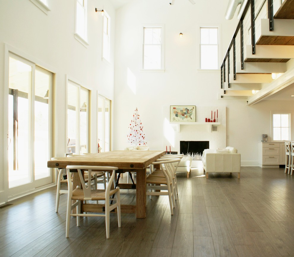 Floating Vinyl Plank Flooring Dining Room Farmhouse with Balcony Beams Cable Railing Christmas Tree Dining Table Farm Table Fireplace Open
