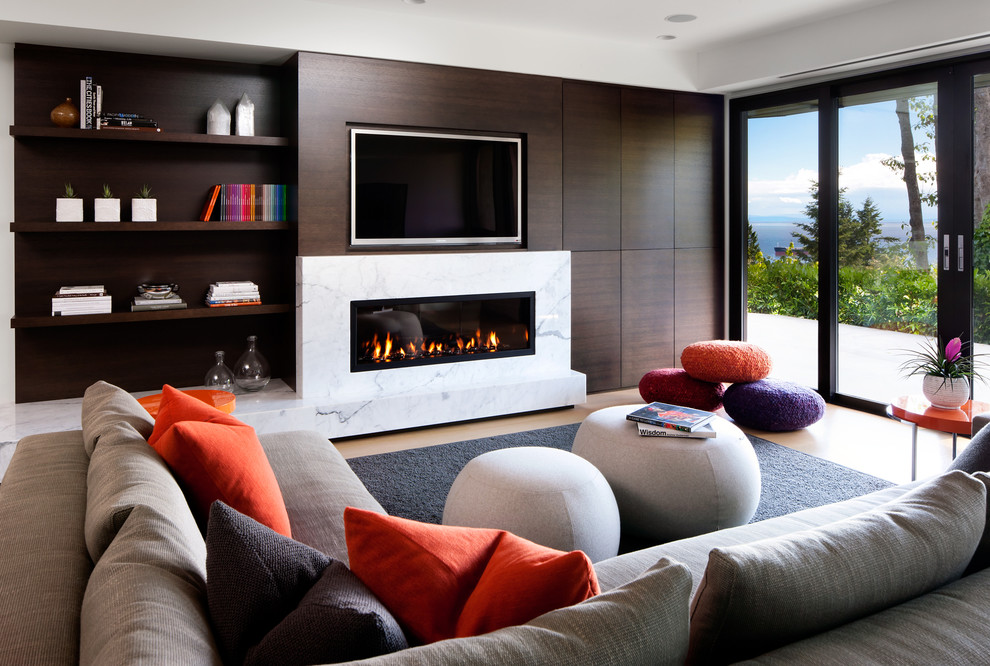 Floor Pouf Family Room Contemporary with Gas Fire Gas Fireplace Gray Sectional Media Screen Millwork Wall Paneled Walls