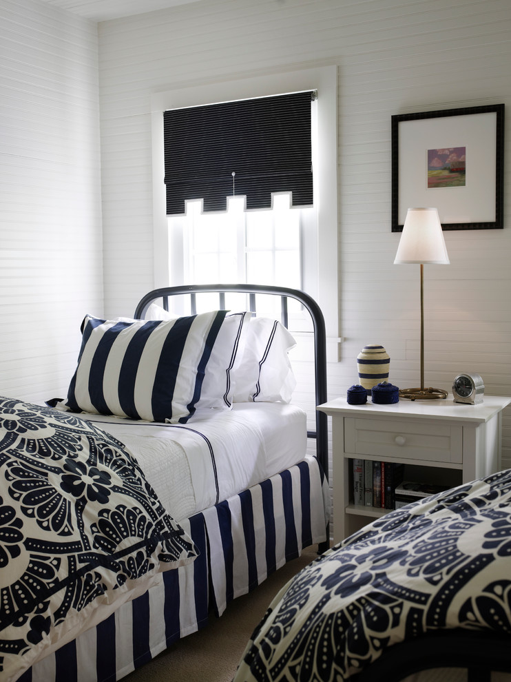 Floral Comforter Bedroom Beach with Beadboard Blue and White Brass Table Lamp Damask Iron Bed Nightstand Roman1