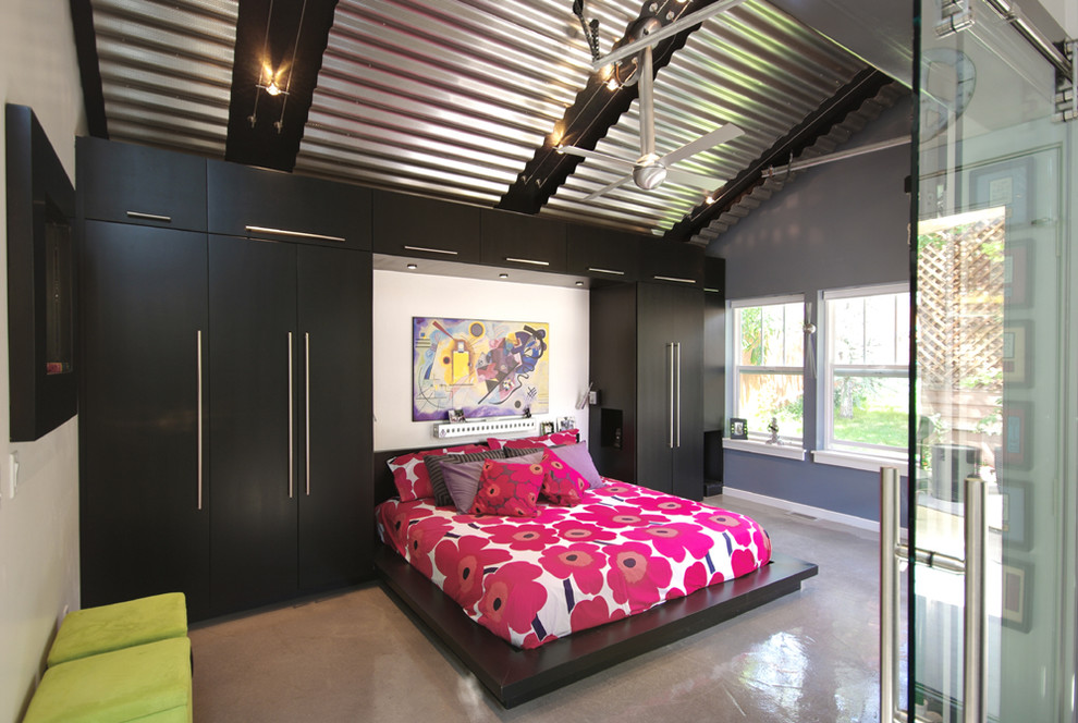 Floral Comforter Bedroom Contemporary with 1133739 Bed Bult in Storage Cable Lighting Ceiling Fan Ceiling Lighting Closet Corrugated1