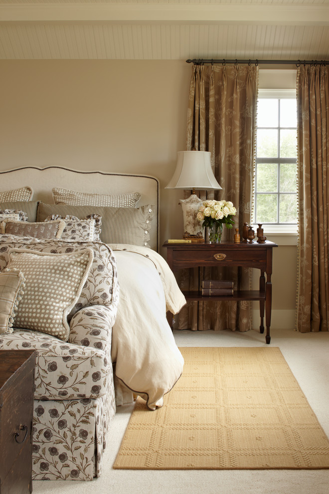 Floral Comforter Bedroom Farmhouse with Beige Area Rug Brown Curtains Dark Wood Trunk Floral Sofa Master Bedroom1