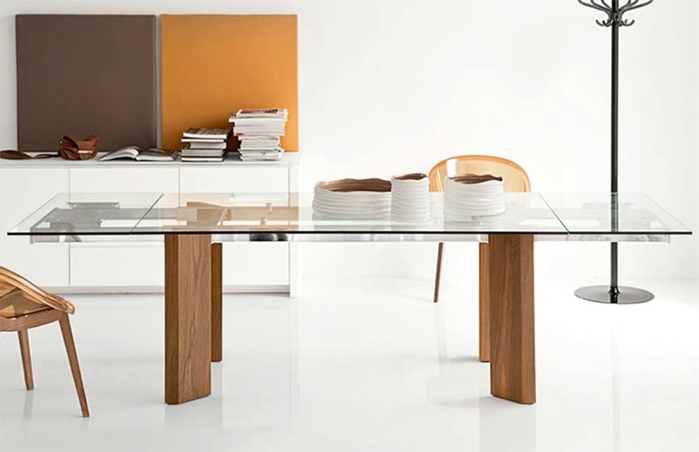 Florence Mailboxes Dining Room Modern with Calligaris Chrome Dark Oak Dining Expandable Expanding Expansion Extraclear Glass Graphite Italian