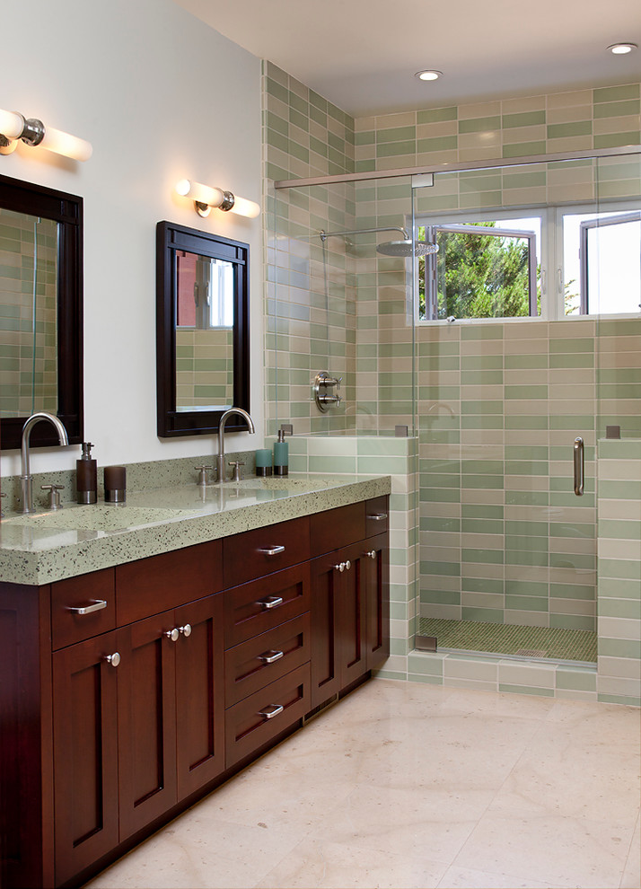 Flotec Sump Pump Bathroom Traditional with Casement Windows Dark Stained Wood Double Vanity Frame and Panel Cabinets Glass