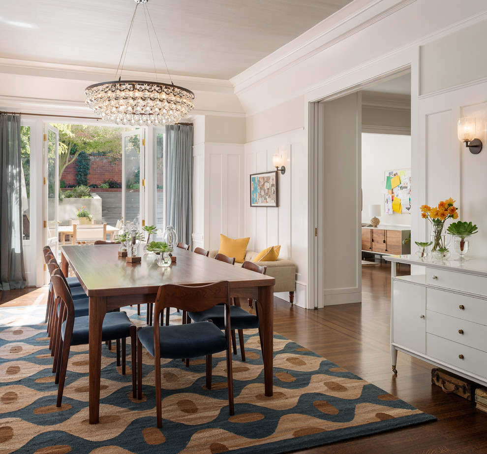 Fluffy Rugs Dining Room Transitional with Area Rug Blue Board and Batten Chandelier Crown Molding Curtain Panels Dining