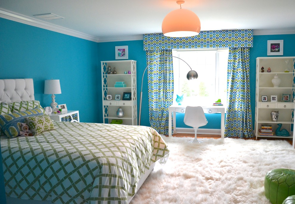 Fluffy Rugs Kids Eclectic with Area Rug Bookcase Bookshelves Bright Colorful Curtains Custom Bed Custom Window Treatments