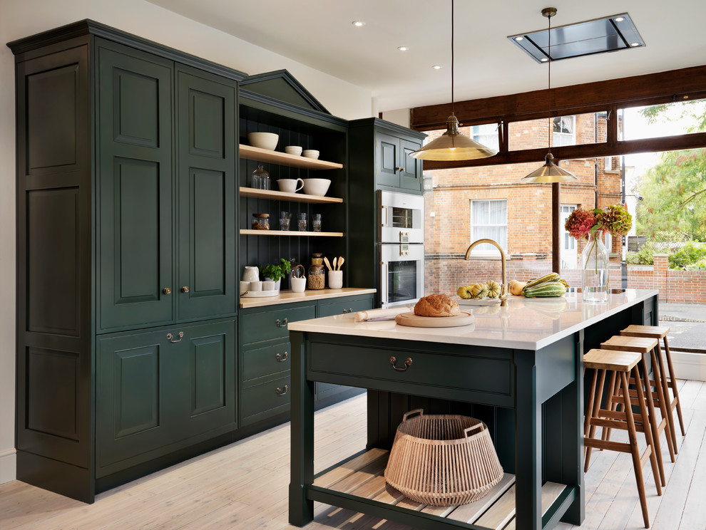 Flush Mount Ceiling Fan Kitchen Traditional with Bespoke Britain Craftsman Craftsmanship Dark Green Kitchen Cabinets English Floor to Ceiling