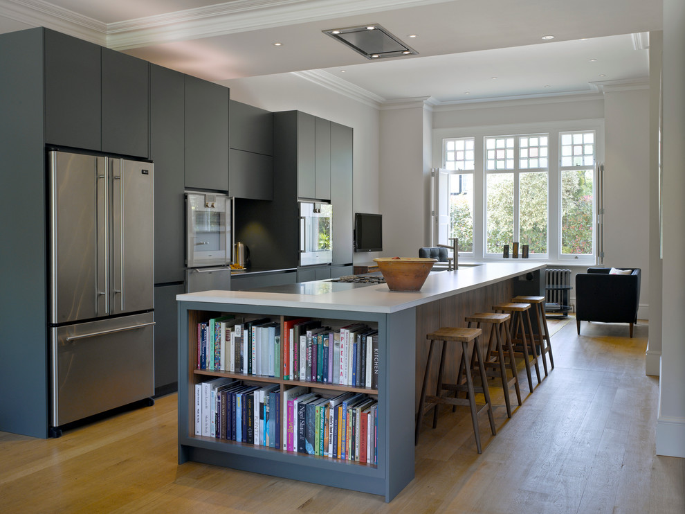Flush Mount Ceiling Fan Kitchen Transitional with Bespoke Cabinetry Bespoke Island Blue Gray Flat Panel Kitchen Cabinets Blue Kitchen Blue