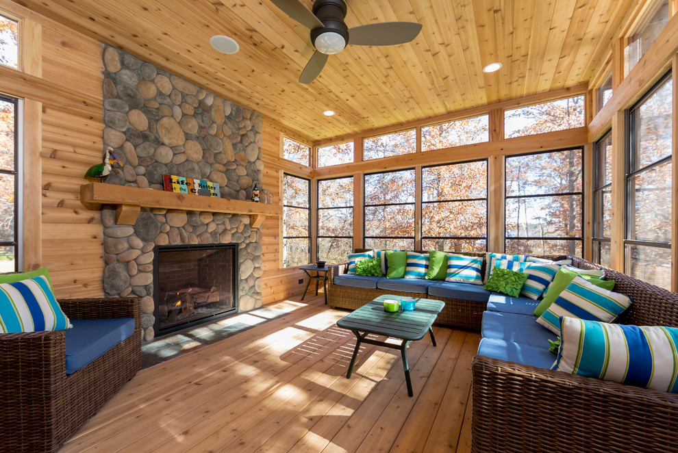 Flush Mount Ceiling Fan Sunroom Rustic with Ceiling Fan Ceiling Tongue and Groove Pine Field Stone Surround Green Coffee