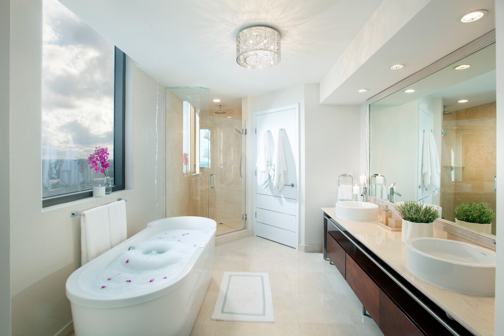 Flush Mount Ceiling Light Bathroom Contemporary with Bath Mat Ceiling Light Dark Stained Wood Double Vanity Freestanding Bathtub Glass
