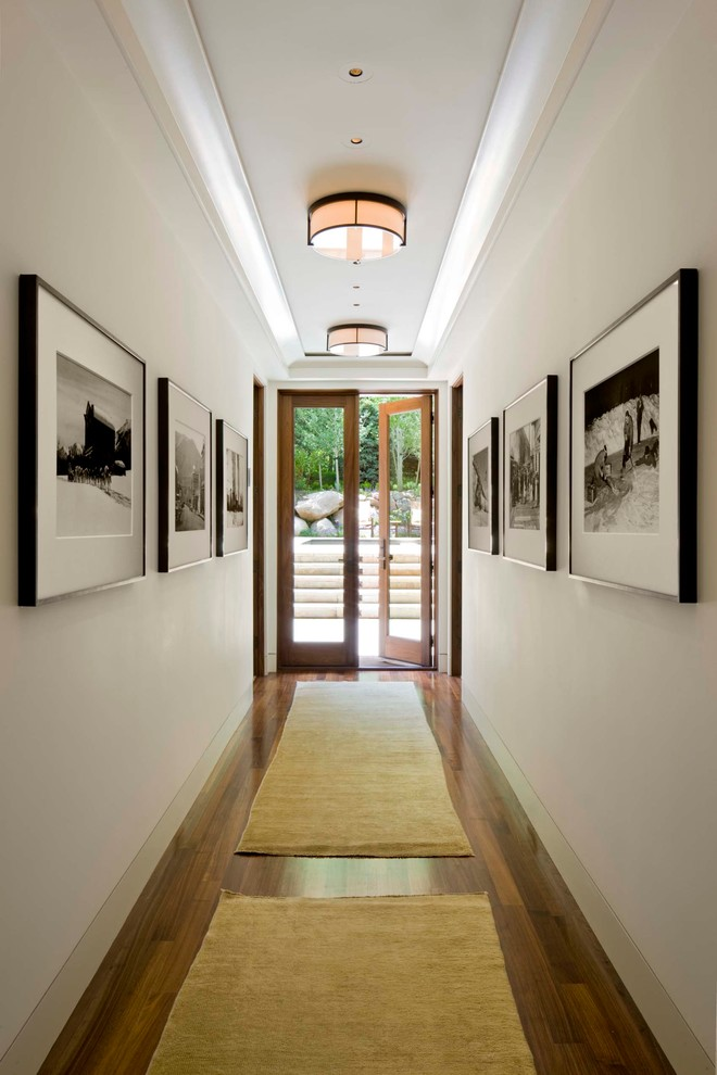 Flush Mount Ceiling Light Hall Transitional with Area Rug Art Art Light Artwork Baseboard Black and White Photography Entry