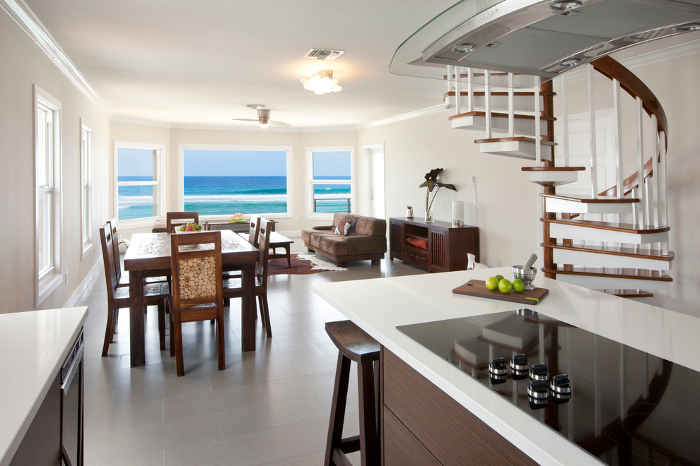 Flush Mount Chandelier Kitchen Contemporary with 2 Blade Fan Bay Window Beachfront Caribbean Cayman Islands Eat in Kitchen Grand