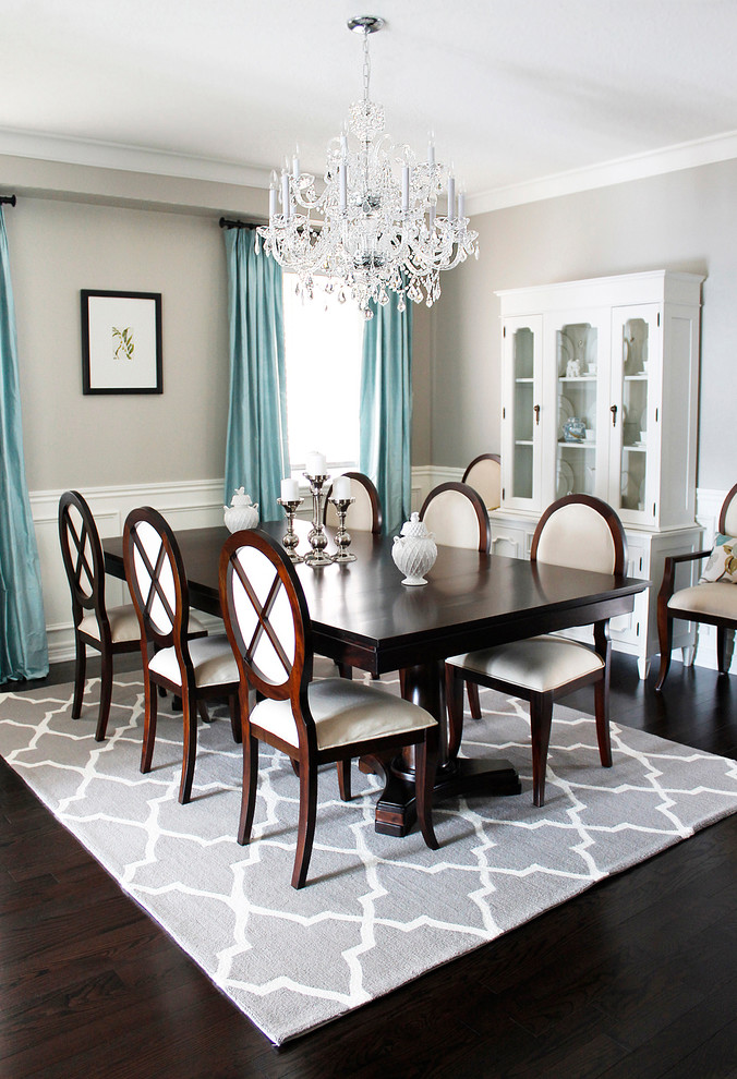 Flush Mount Light Dining Room Traditional with Beige Dining Chair Blue Curtain Crystal Chandelier Dark Wood Dining Table Dark