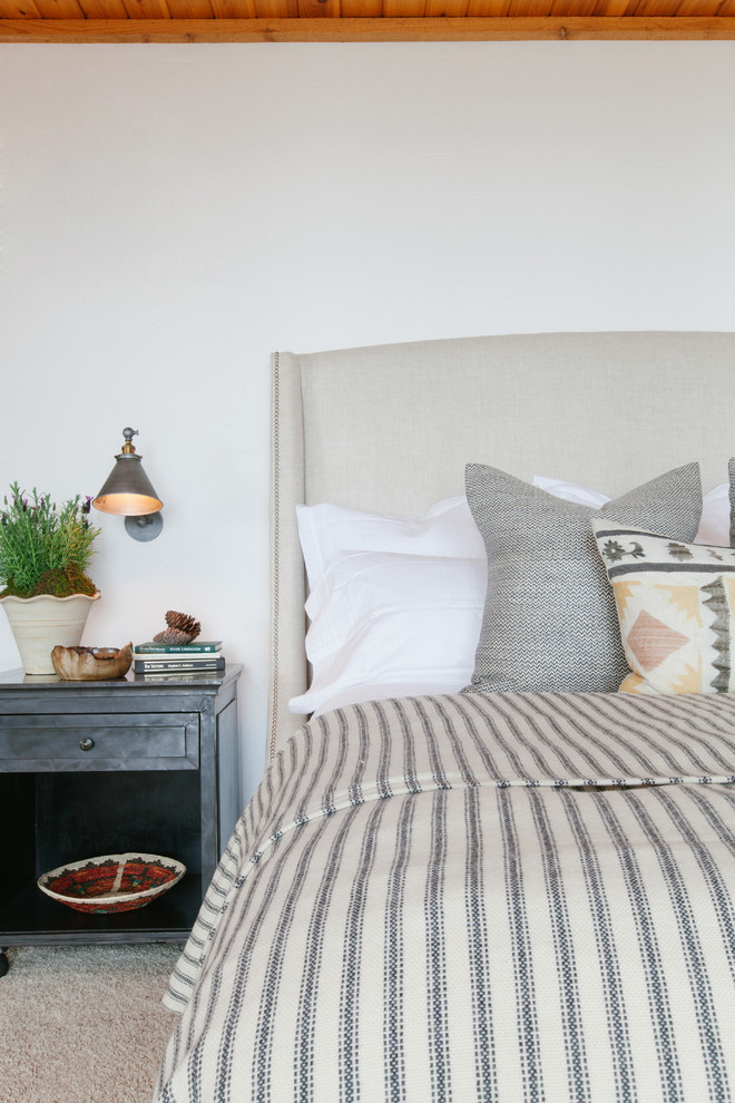 Foam Topper Bedroom Rustic with Library Lights Neutral Palette Striped Bedding Upholstered Headboard