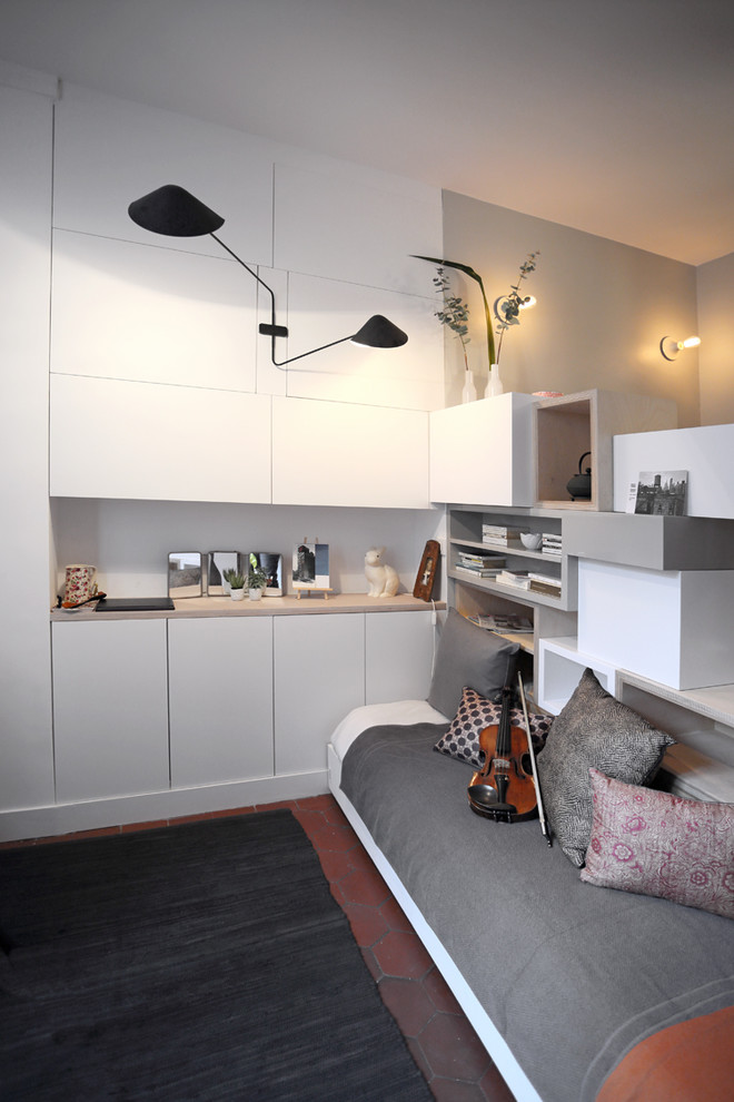 Foldable Bed Bedroom Contemporary with Appliques Blanches Black Wall Sconce Built in Wall Cabinets Canape Lit Coussins