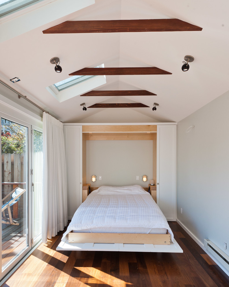 Foldable Bed Bedroom Contemporary with Beams Ceiling Lighting Deck Hardwood Floor Murphy Bed Neutral Colors Pull Down