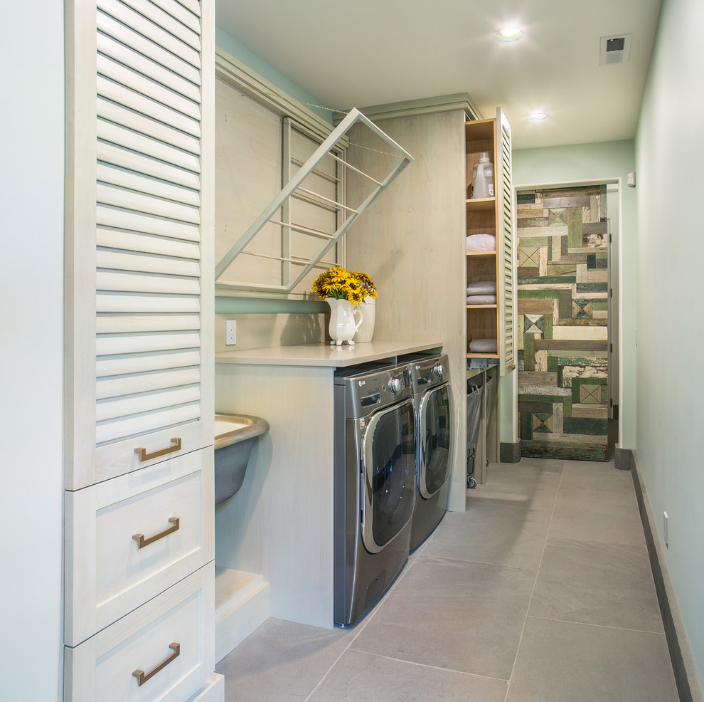 Folding Luggage Rack Laundry Room Contemporary with Caesarstone Hanging Dry Rack Laundry Room Appliances Pennsylvania Bluestone Pull Out Laundry