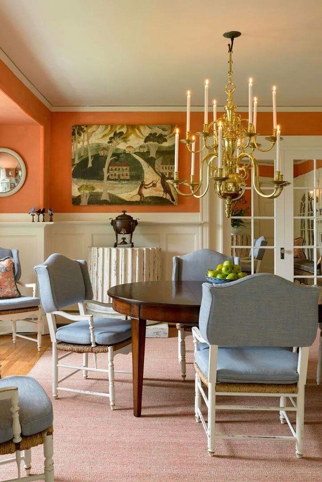 Fondue Pots Dining Room Traditional with Antiques Blue Dining Chairs Brass Chandelier French Doors Glass Doors Pink Area