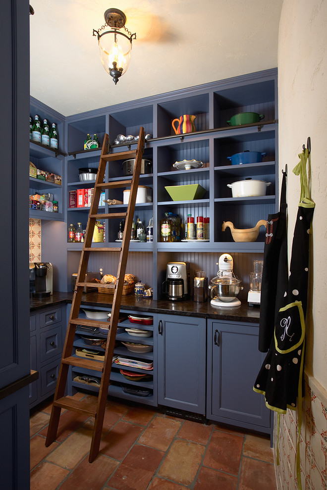 fondue pots Kitchen Traditional with apron bead board black counters blue painted cabinets ceiling lamp ladder Le